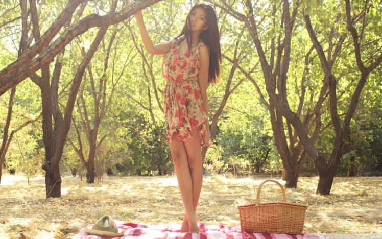 women, Asian, Legs, Nature, Trees, Brunette HD Wallpaper Desktop Background
