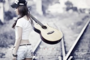 anime, Railway, Huu Trong Nguyen, Asian, Guitar, Women, Brunette