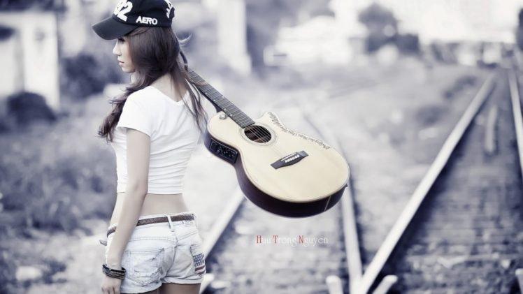 anime, Railway, Huu Trong Nguyen, Asian, Guitar, Women, Brunette HD Wallpaper Desktop Background