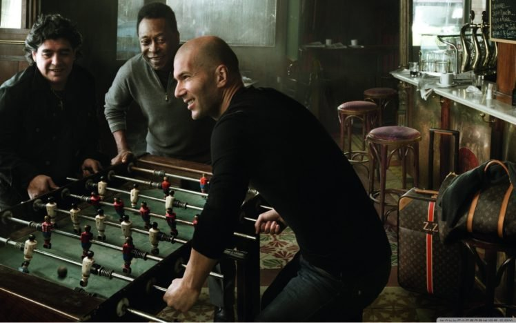 soccer, Legends, Maradona, Zinedine Zidane, Pelé, Footballers, Men HD Wallpaper Desktop Background