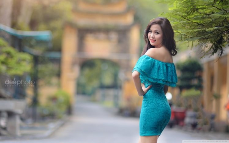 women, Dress, Asian, Brunette, Ass HD