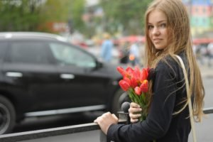 women, Model, Long hair, Women outdoors, Smiling, Depth of field, Blonde, Blue eyes, Flowers, Street, Car