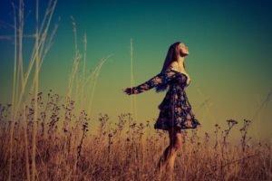 freedom, Women outdoors, Women, Filter, Sky, Grass