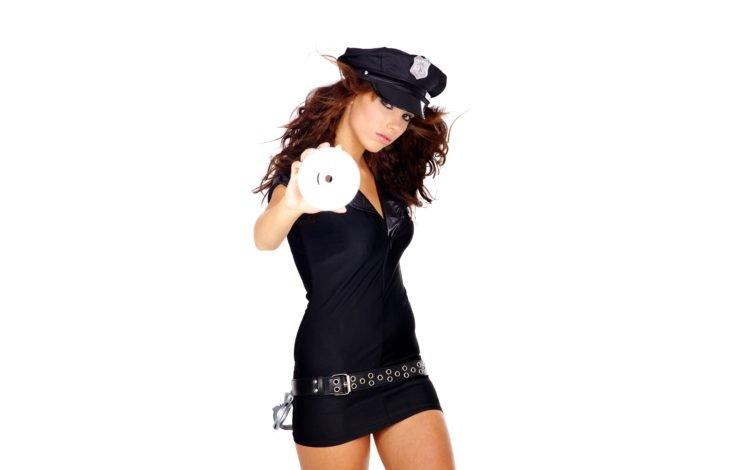 women, Model, Brunette, Long hair, White background, Police, Discs, Belt, Uniform, Handcuffs HD Wallpaper Desktop Background