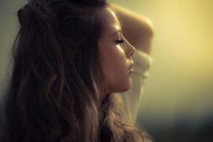 face, Women, Brunette, Women outdoors, Natural lighting, Long hair, Closed eyes