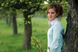 women, Brunette, Long hair, Women outdoors, Trees, Emma Watson, Actress, Smiling, Sweater, Shirt