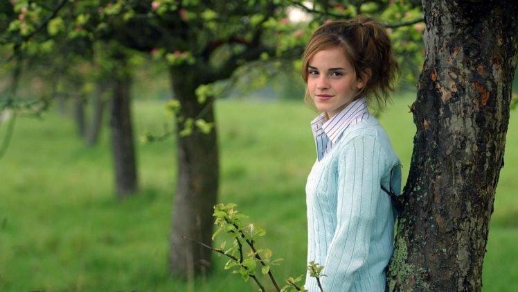 women, Brunette, Long hair, Women outdoors, Trees, Emma Watson, Actress, Smiling, Sweater, Shirt HD Wallpaper Desktop Background