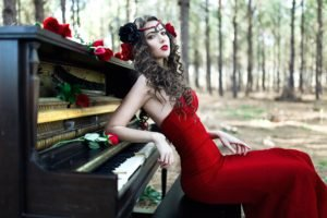 women, Model, Brunette, Long hair, Women outdoors, Trees, Red lipstick, Red dress, Piano, Open mouth, Rose, Sitting, Headband, Curly hair, Red flowers