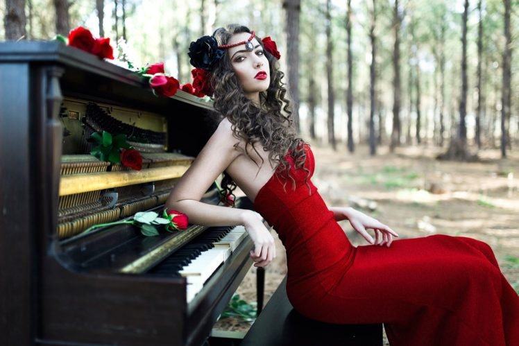 women, Model, Brunette, Long hair, Women outdoors, Trees, Red lipstick, Red dress, Piano, Open mouth, Rose, Sitting, Headband, Curly hair, Red flowers HD Wallpaper Desktop Background