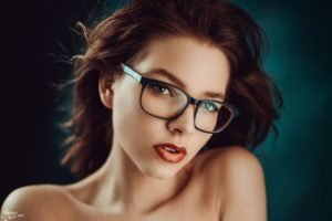 model, Redhead, Red lipstick, Glasses, Open mouth, Georgiy Chernyadyev, Women, Face, Portrait, Women with glasses