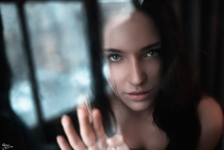 women, Model, Brunette, Blue eyes, Reflection, Face, Georgiy Chernyadyev HD Wallpaper Desktop Background
