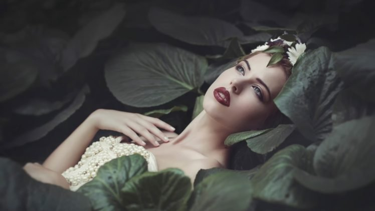 women, Nature, Model, Dress, Women outdoors, Brunette, Red lipstick, Face, Open mouth, Leaves, Pearls, Lily pads, Flower in hair HD Wallpaper Desktop Background