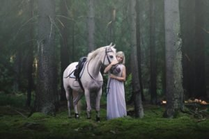 women, Nature, Model, Dress, Women outdoors, Long hair, Blonde, Trees, Forest, Animals, Horse