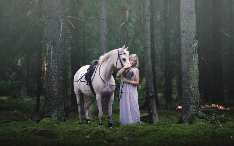 women, Nature, Model, Dress, Women outdoors, Long hair, Blonde, Trees, Forest, Animals, Horse HD Wallpaper Desktop Background