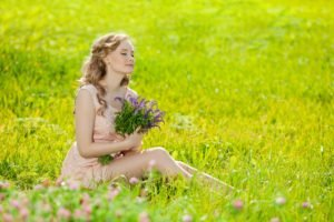 women, Nature, Model, Dress, Women outdoors, Long hair, Blonde, Closed eyes, Field, Grass, Flowers, Sitting