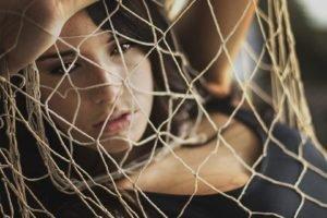 women, Model, Brunette, Face, Women outdoors, Brown eyes, Open mouth, Nets, Tank top, Depth of field, Freckles