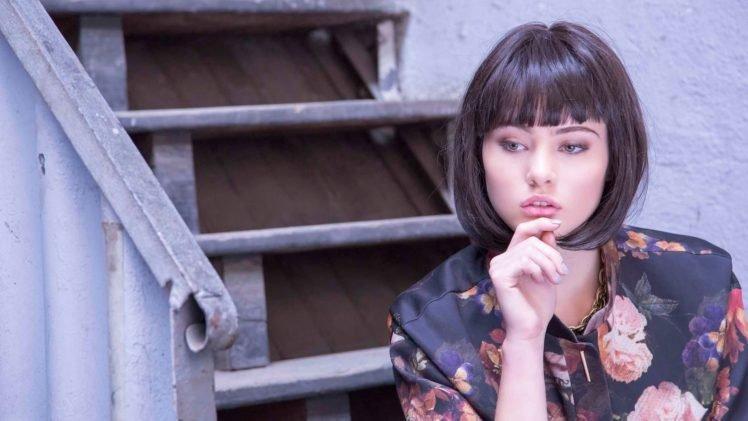 women, Model, Brunette, Face, Women outdoors, Short hair, Open mouth, Blouses, Stairs HD Wallpaper Desktop Background