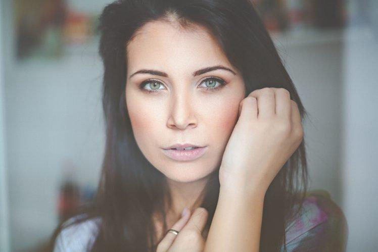 women, Model, Brunette, Green eyes, Face HD Wallpaper Desktop Background