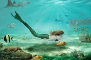 women, Fantasy art, Drawing, Mermaids, Sea, Rock, Underwater, Swimming, Fish, Sunlight, Crabs, Brunette, Long hair