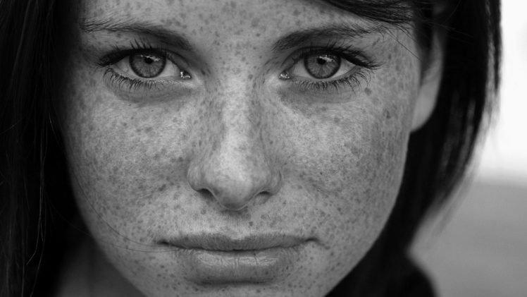 monochrome, Face, Freckles, Eyes, Women, Model HD Wallpaper Desktop Background