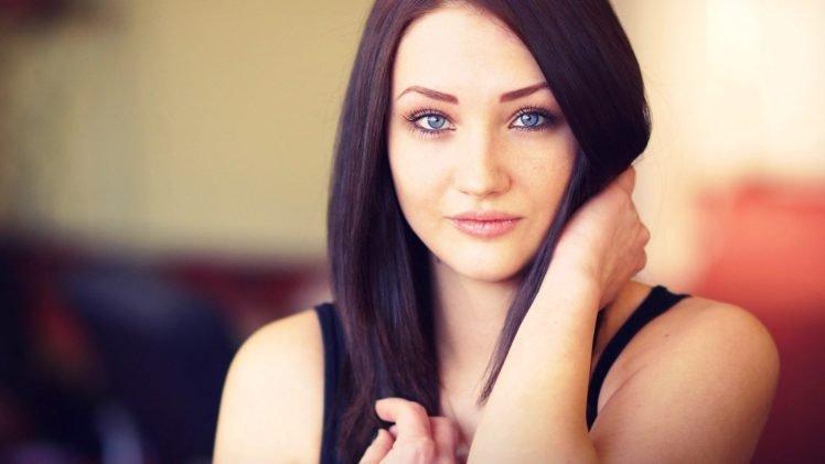 blue eyes, Eyes, Women, Brunette HD Wallpaper Desktop Background