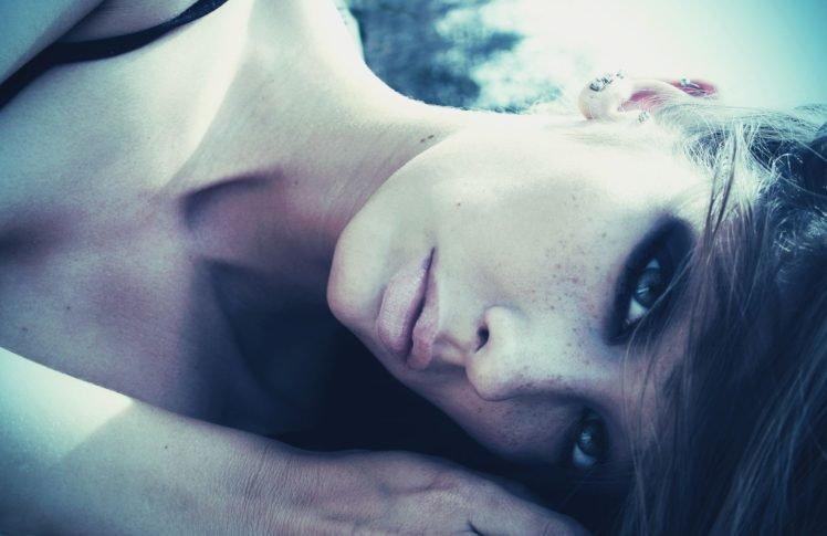 brunette, Eyes, Women, Closeup, Filter, Face, Freckles HD Wallpaper Desktop Background