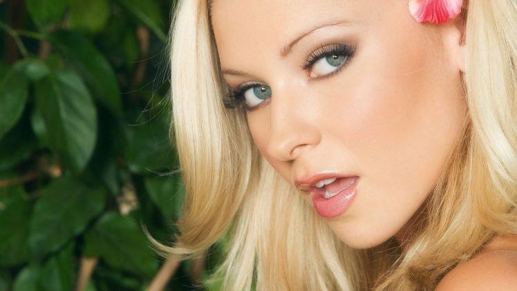 women, Model, Blonde, Face, Open mouth, Women outdoors, Long hair, Blue eyes, Leaves, Flowers HD Wallpaper Desktop Background