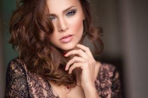 women, Model, Brunette, Red nails, Blue eyes