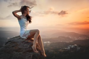 women, Model, Brunette, Nature, Rock, Sunset, Depth of field, Mist