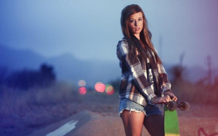 skateboard, Women, Shorts HD Wallpaper Desktop Background