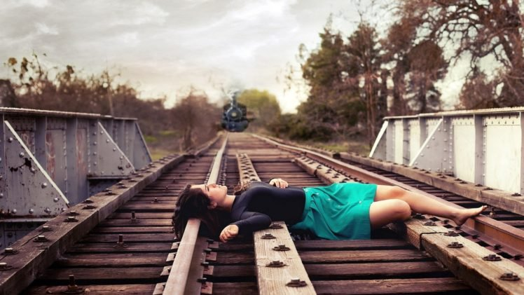 women, Model, Brunette, Long hair, Women outdoors, Skirt, Barefoot, Railway, Steam locomotive, Suicide, Trees, Train, Bridge, Photoshopped HD Wallpaper Desktop Background
