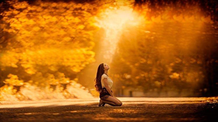 women, Model, Brunette, Long hair, Women outdoors, Kneeling, Barefoot, Sunlight, Blouses, Short skirt, Stockings, Trees, Nature, Skirt, Looking up, Golden Hour HD Wallpaper Desktop Background