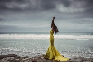 women, Model, Nature, Sea, Yellow dress, Arms up, Dark skin