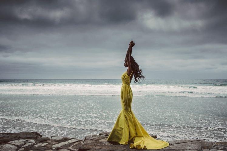 women, Model, Nature, Sea, Yellow dress, Arms up, Dark skin HD Wallpaper Desktop Background