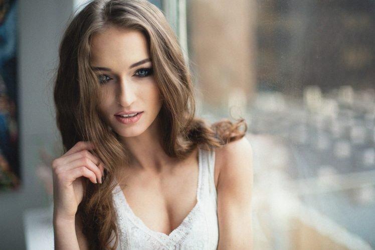 women, Model, Brunette, Blue eyes, Face HD Wallpaper Desktop Background