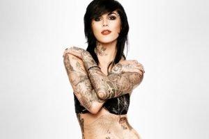 Kat Von D, Brunette, Tattoo, Simple background