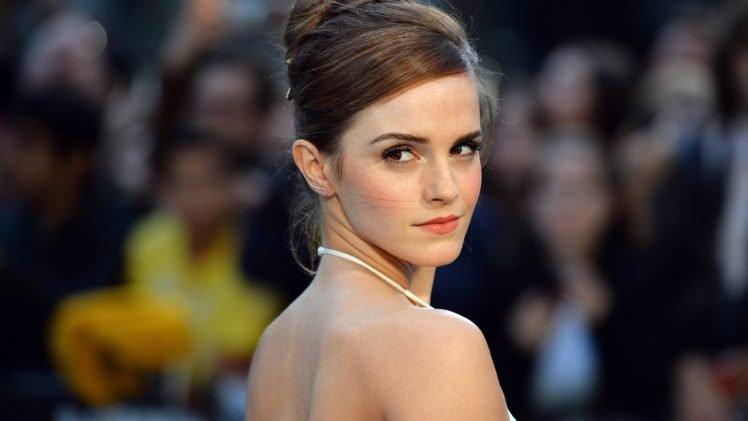 Emma Watson, Actress, Brunette, Photography, Closeup, Brown eyes, Bare shoulders HD Wallpaper Desktop Background