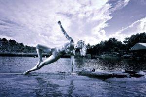 women, Monochrome, Water