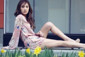 women, Model, Asian, Brunette, Long hair, Women outdoors, Sitting, Open mouth, High heels, Flowers, Daffodils