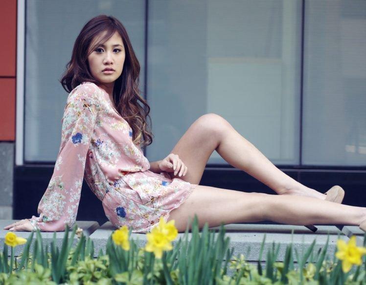 women, Model, Asian, Brunette, Long hair, Women outdoors, Sitting, Open mouth, High heels, Flowers, Daffodils HD Wallpaper Desktop Background
