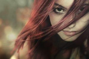 women, Redhead, Green eyes, Lipstick, Depth of field