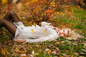 women, Model, Blonde, Long hair, Women outdoors, Dress, Nature, Lying on back, Leaves