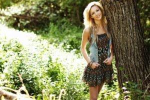 women, Model, Blonde, Long hair, Women outdoors, Dress, Smiling, Nature, Trees