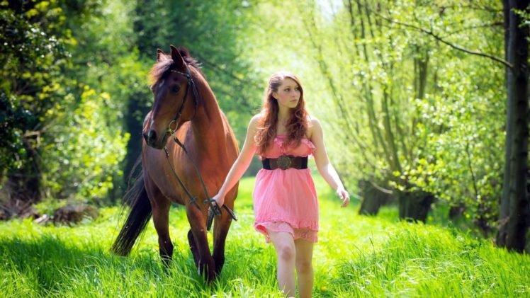 women, Model, Brunette, Long hair, Horse, Animals, Women outdoors, Dress, Nature, Trees, Grass, Belt HD Wallpaper Desktop Background