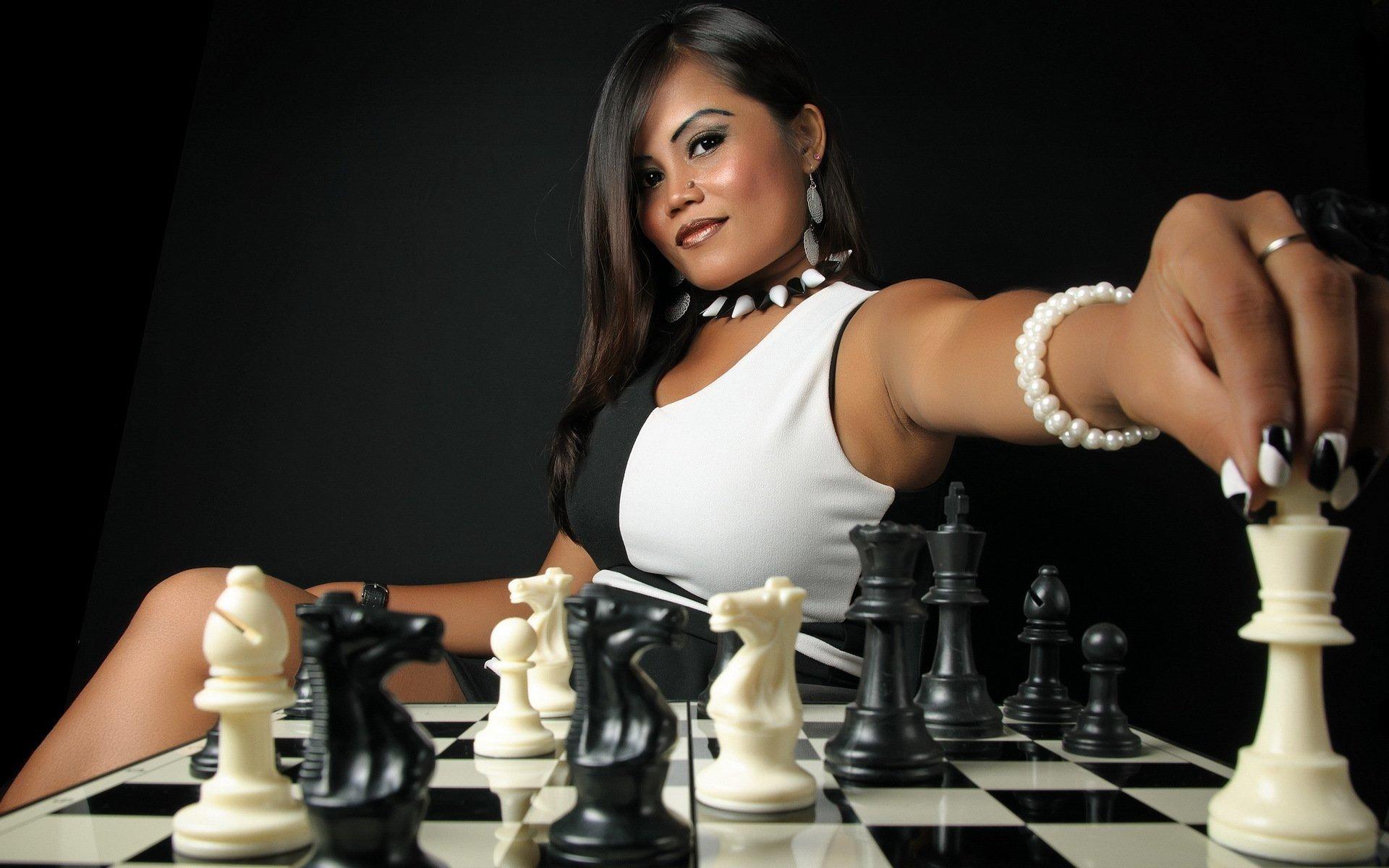 Women, Model, Brunette, Long Hair, Asian, Black, White, Chess, Board Games, Pawns Hd -3451