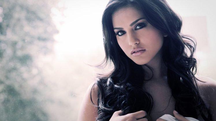 Women Brunette Dark Hair Long Hair White Sunny Leone Hd