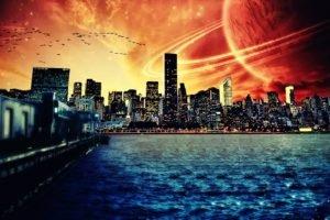 digital art, Cityscape, Planetary rings, Planet, Water, Space art