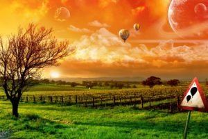 digital art, Hot air balloons, Space art, Landscape, Nature