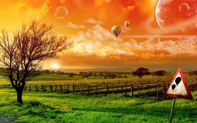 digital art, Hot air balloons, Space art, Landscape, Nature HD Wallpaper Desktop Background