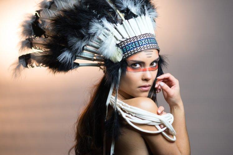 women, Model, Brunette, Long hair, Women outdoors, Feathers, Native Americans, Face, Simple background, Sun, Headdress HD Wallpaper Desktop Background